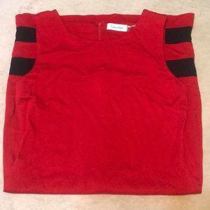 Calvin Klein Red Dress with Black Stripes